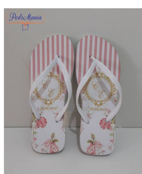 Chinelo Casamento Floral Rose