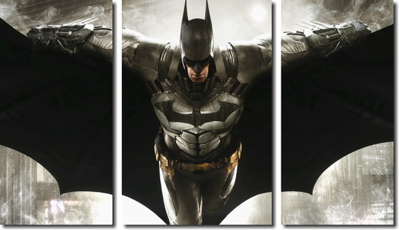 quadro decorativo batman vs arkham 3 pç