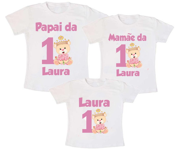 Kit 3 Camiseta Ursinha Princesa
