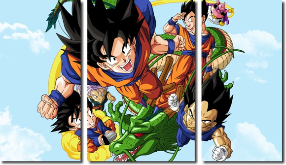 Quadro Decorativo Dragon Ball Goku 3 pç