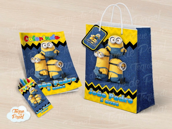 Kit colorir giz sacola Minions