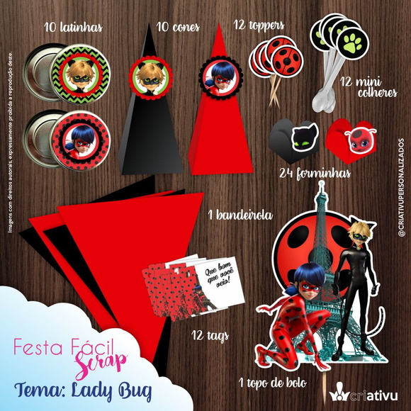 Festa Fácil Scrap Lady Bug Miraculous