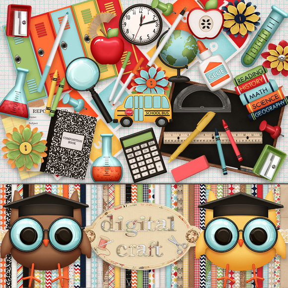 Kit Scrapbook Digital - Na escola II