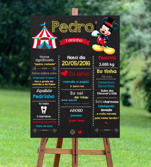 Chalkboard Circo do Mickey Digital