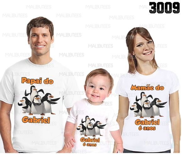 camiseta pinguins madagascar kit c/ 3