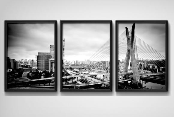 3 Quadros São Paulo Preto Branco Cidade com Moldura e