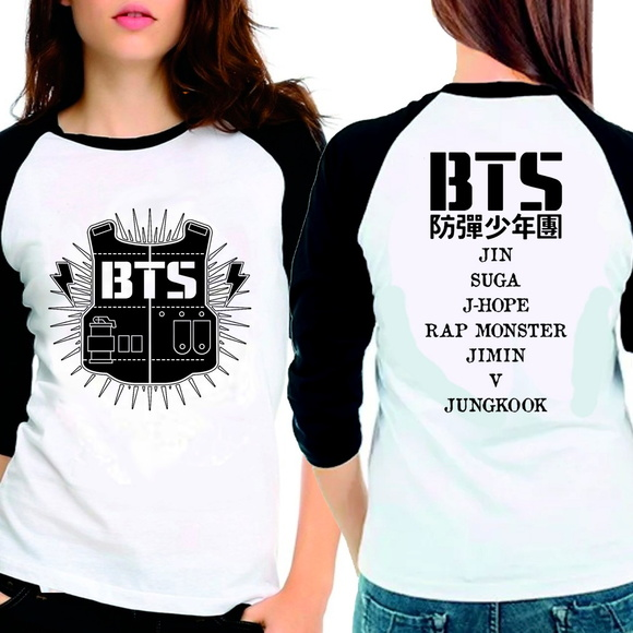 Camiseta Bangtan Boys Bts Team Names 3/4