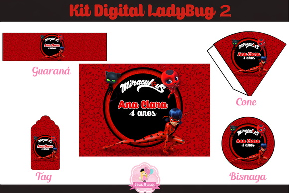 Kit Festa Digital LadyBug Fundo Flores