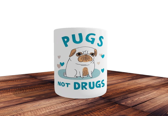 Caneca Pugs Not Drugs