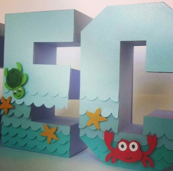 Letras 3D fundo do mar