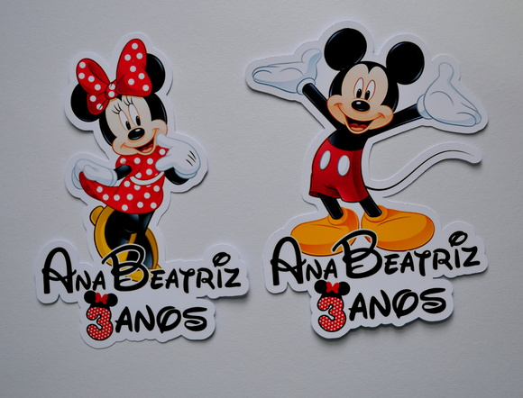 Minnie e Mickey | Aplique para tubete