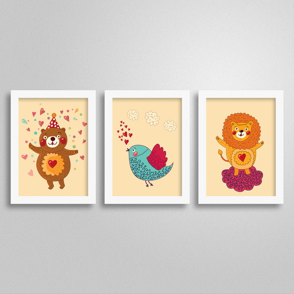 Trio Quadros Love Animals 1