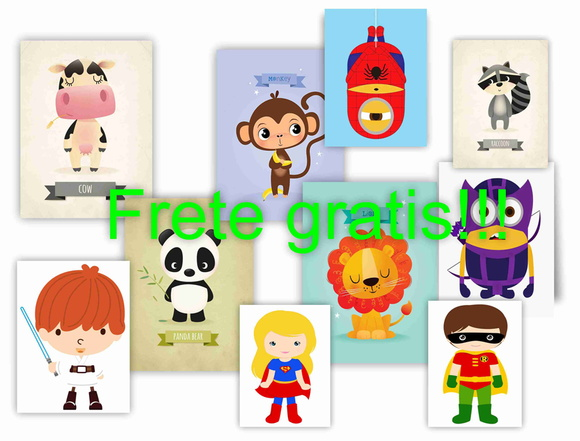 Kit com 5 placas decorativas infantil