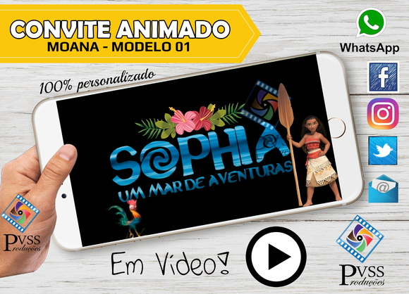 VIDEO CONVITE VIRTUAL ANIMADO - MOANA