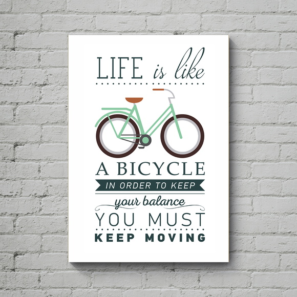 Quadro Poster Mdf Life is a Bike