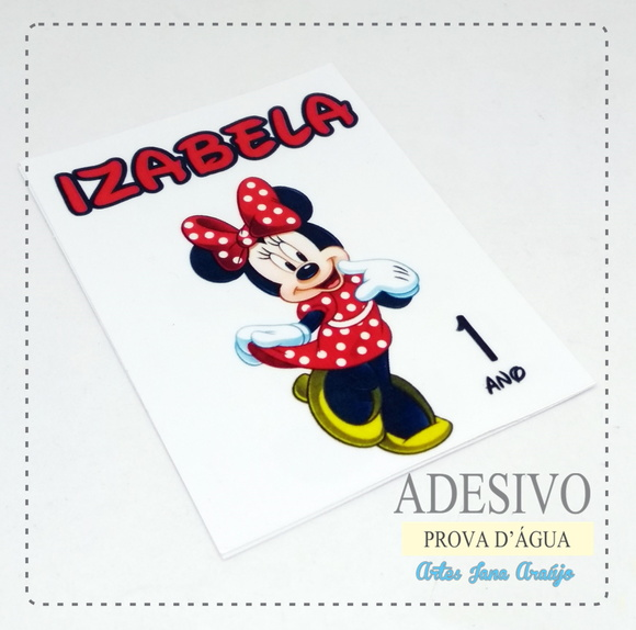 Rótulo Vinil Minnie e Mickey