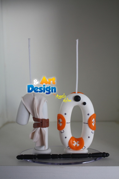Vela biscuit Star Wars - Rey e BB8