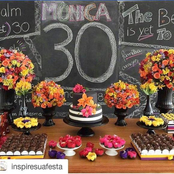 Decoraç u00e3o Festa Aniversario 30 Anos Elo7 -> Decoração De Flores Festa