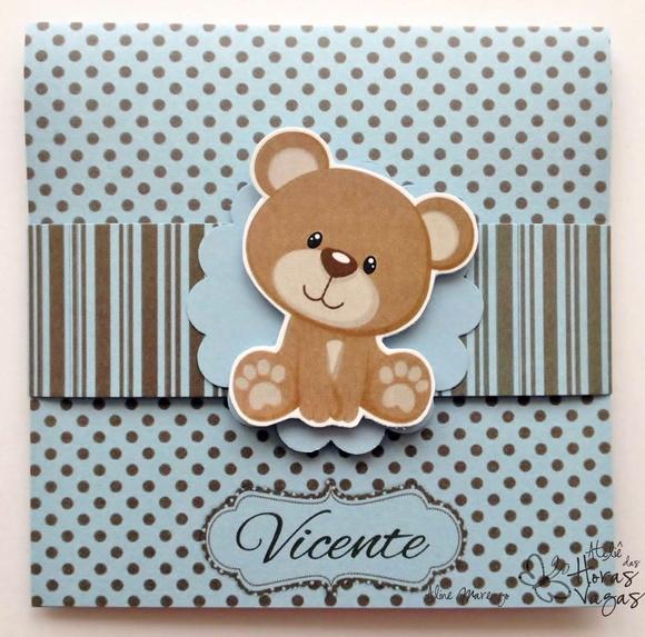 Convite Urso Azul E Marrom 1
