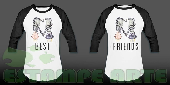 kit camiseta raglan best friends