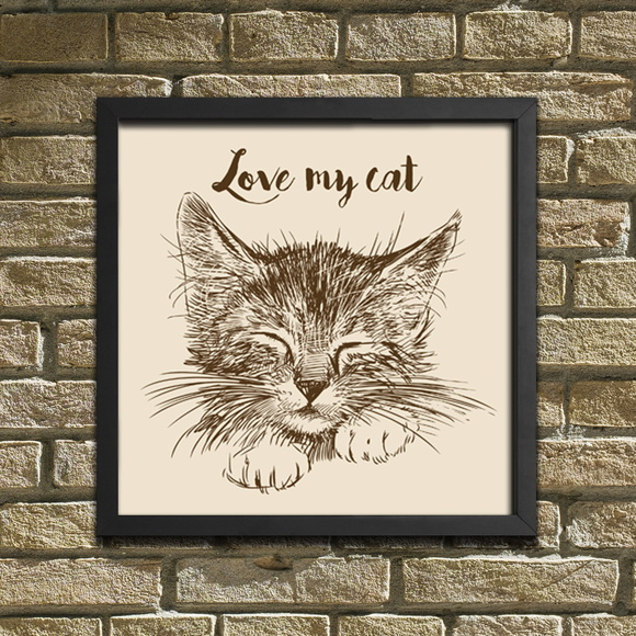 "Quadro / Placa Decorativa ""Love My Cat"""