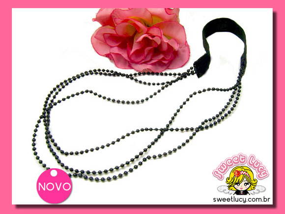 Headband Love Pearl - Preto