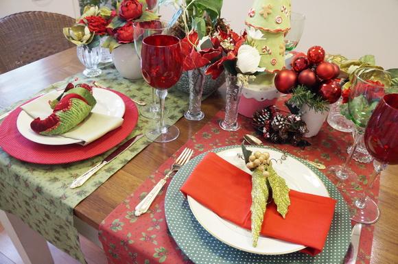 Trilho de mesa vermelho natal no Elo7 Mesa Decorada Márcia Rocco (9FFBD1) -> Decoração De Natal Para Mesa Quadrada