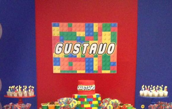 Festa lego - Placa decorativa