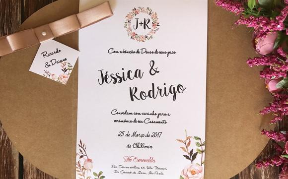 Convite de Casamento Rústico Kraft Floral Rose Nude R01 no