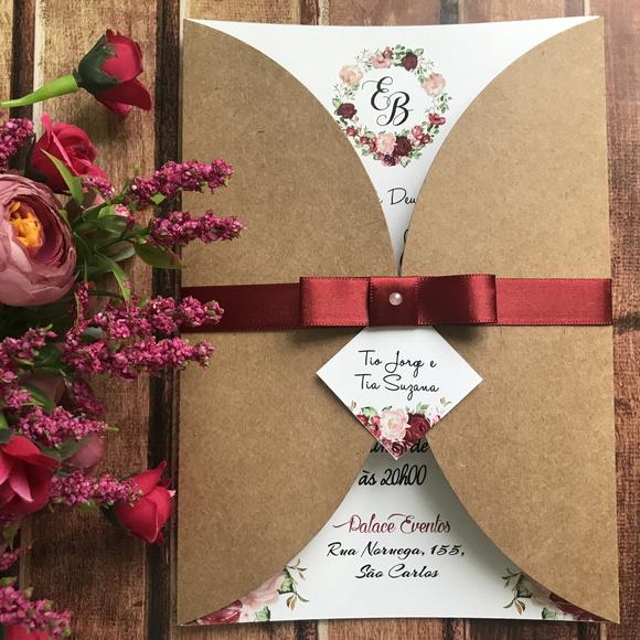 Convite de Casamento Rústico Floral Marsala (bordo) R01 no