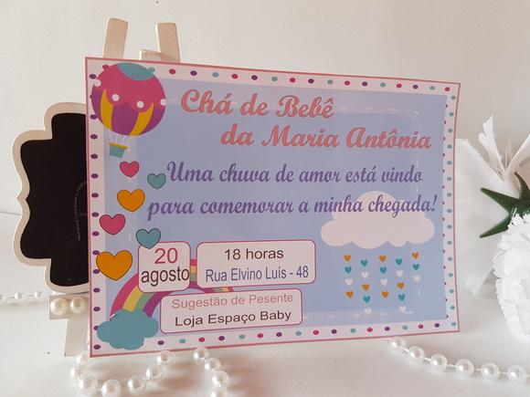 Convite Chá de Beb u00ea Chuva de Amor Elo7 -> Decoração Cha De Fralda Chuva De Amor Simples