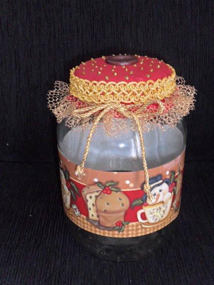 pote de vidro p decoraç u00e3o mesa de Natal no Elo7 Oficina do Artesanato by Margarete Orlandi  -> Decoracao Com Tampa De Vidro