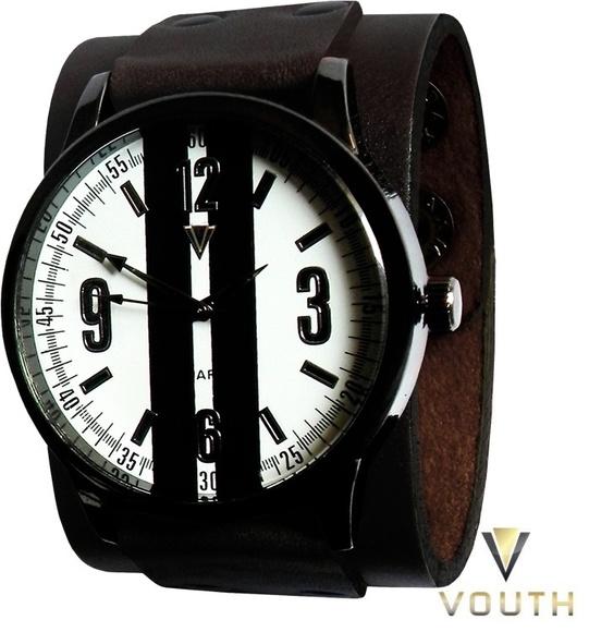 39911c93464 Relógio Com Bracelete De Couro Masculino no Elo7