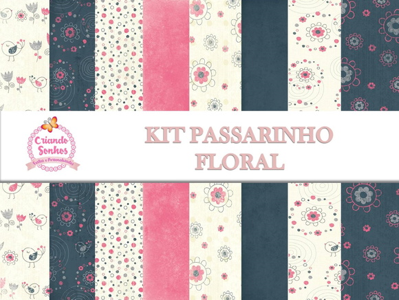 KIT PAPEL DIGITAL PASSARINHOS FLORAL