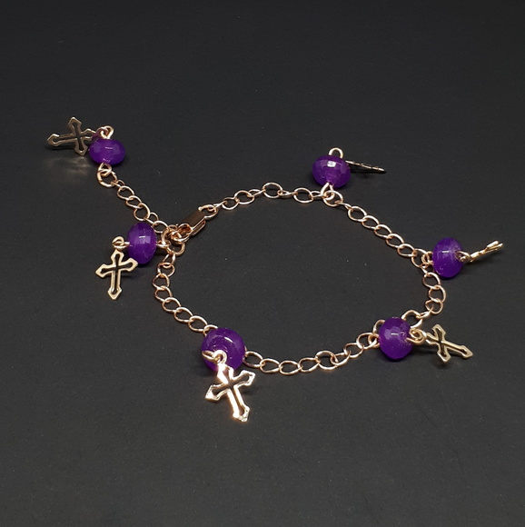 Pulseira de Crucifixo e Jade Purple