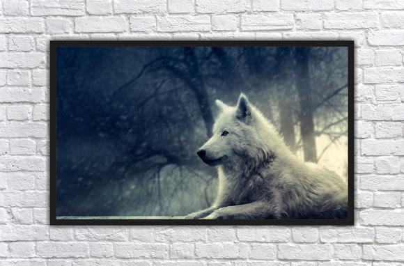 Quadro Lobo Branco Decoracao de Escritorios Sala Interiores   Elo7 67df3c210e