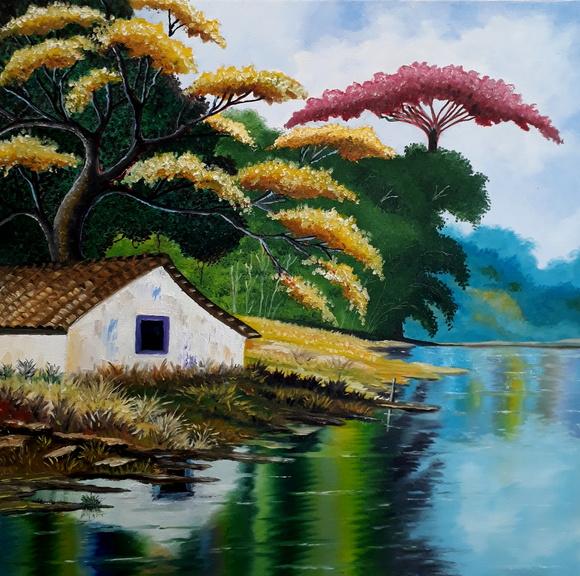Pintura Em Tela Paisagem - 40X40cm No Elo7
