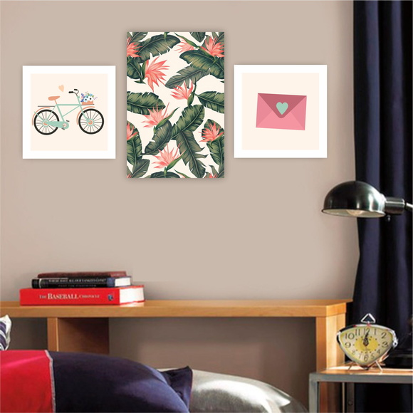 Plaquinha Placa Quadro MDF Kit Floral Love Bicicleta