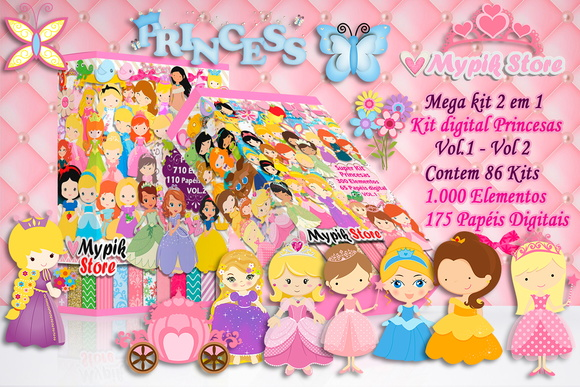 Mega Kit Digital Princesas 2 em 1