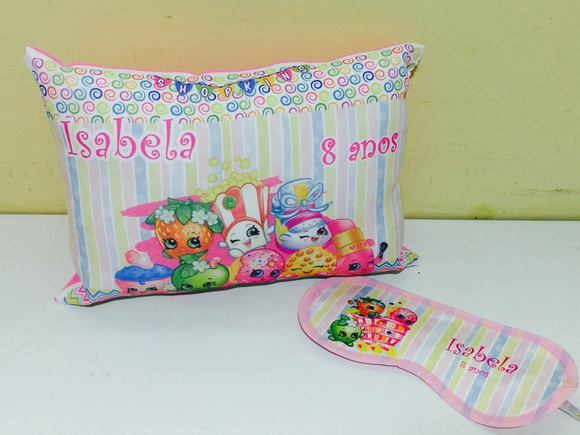 kit almofada e mascara shopkins