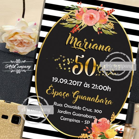 Convite Aniversário 50 Anos Digital no Elo7 | ArteCompany ...