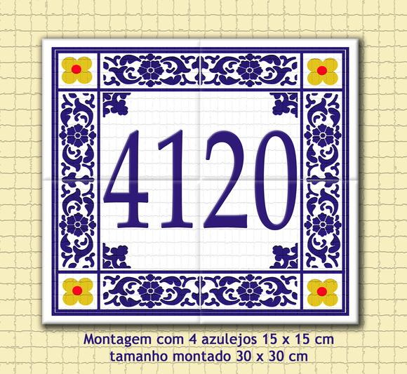 Numero casa azulejo cer mica 30 x 30 cm no elo7 patricia for Azulejo numero casa