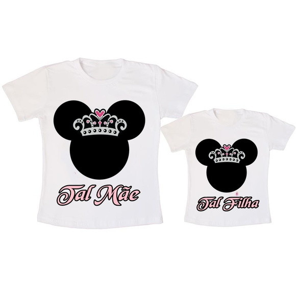 6712a5048 Camiseta Tal mãe tal filha Minnie com coroa no Elo7   Criazopa (AA14C1)