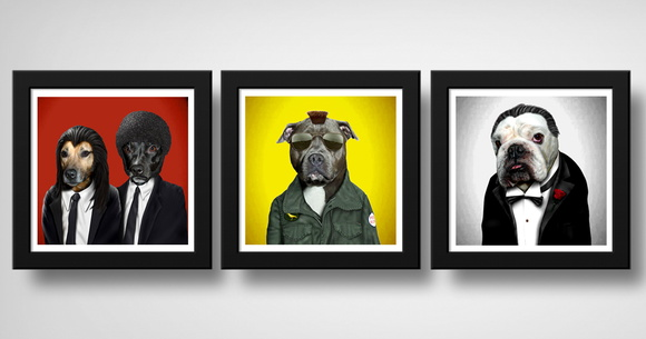 Kit 3 Quadros Cachorro Pulp Fiction Godfather Taxi Driver