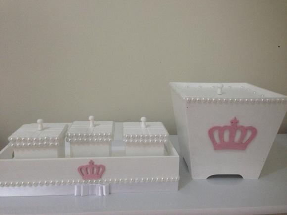 Lixeirinha Coroa Elo7 -> Como Decorar Kit Higiene Para Bebe Com Perola