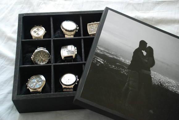 9898f4a4d4d Caixa de Relógio personalizada com fotos no Elo7