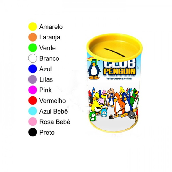 Kit 30 Cofrinhos Personalizados Club Penguin