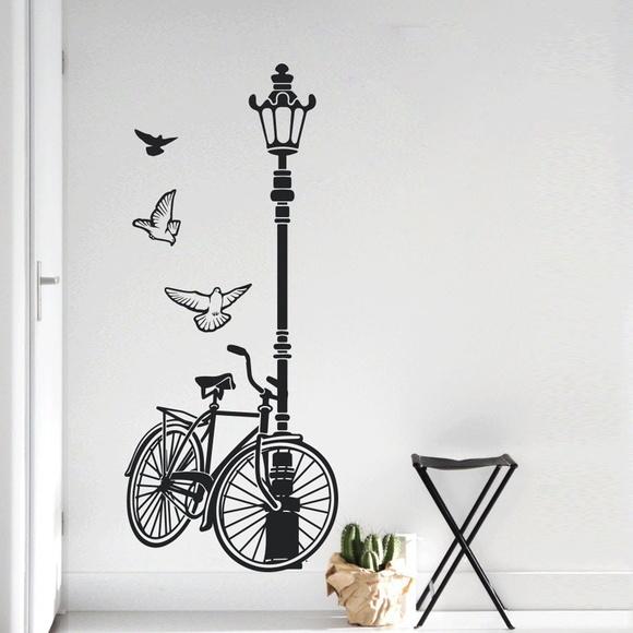Artesanato Em Madeira Para Jardim ~ Adesivo de Parede Bicicleta No Poste Elo7