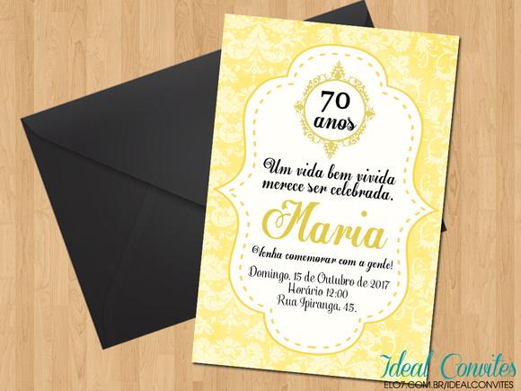 Mensagens De Aniversario De 50 Anos: Convite - Aniversário 70 Anos No Elo7