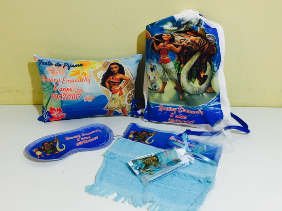 kit festa do pijama moana mochila almofada kit dental